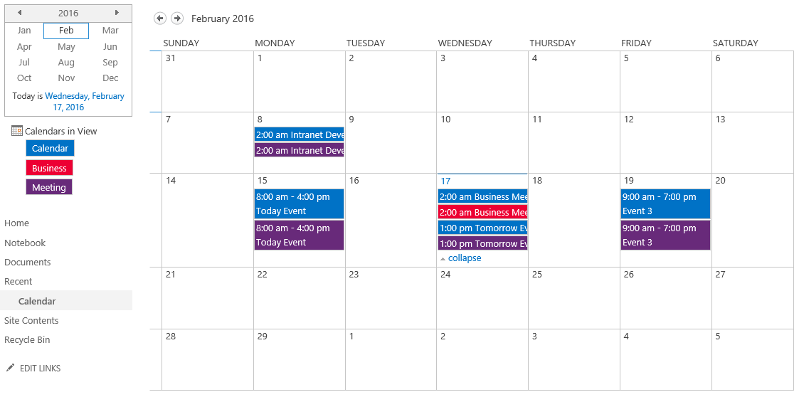 configuring calendar overlay to display different color for each