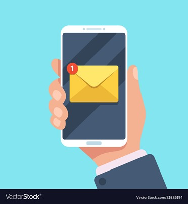 Email notification on smartphone in hand. New mail message in inbox, mailing letters or reading sms on mobile phone vector illustration